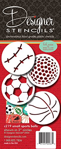 Designer Stencils C219 Small Sports Ball Cupcake and Cookie Stencils (Basketball - Golf - Soccer - Baseball), Beige/semi-transparent by Designer Stencils (Image #3)