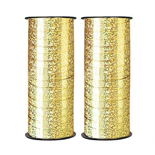 Florist Ribbon - Teemico 2 Pack Balloon Ribbon 100 Yards/91m Curling Ribbons for Parties, Festival, Florist, Crafts and Christmas Gift Wrapping (gold)