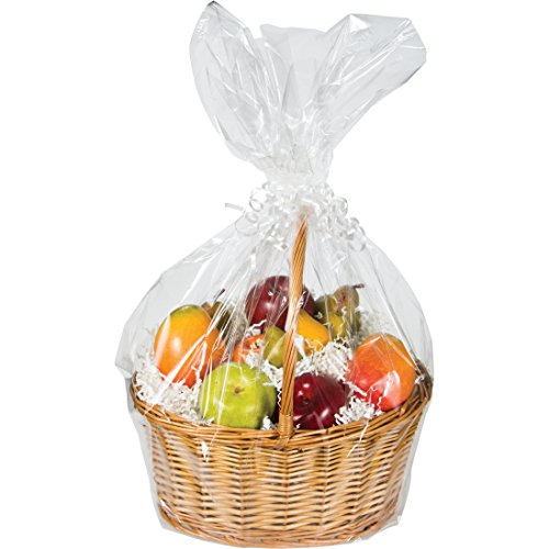 Large Cellophane Basket Bag, Clear