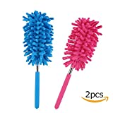 Long Reach Washable Dusting Brush with Telescoping Pole,Retractable Extendable Flexible Microfiber Duster for Home Car and Office(set of 2)