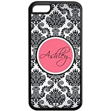 Monogram Personalized Damask Pattern Vs Rose Initials APPLE IPHONE 5C Best Durable PVC Cover Case