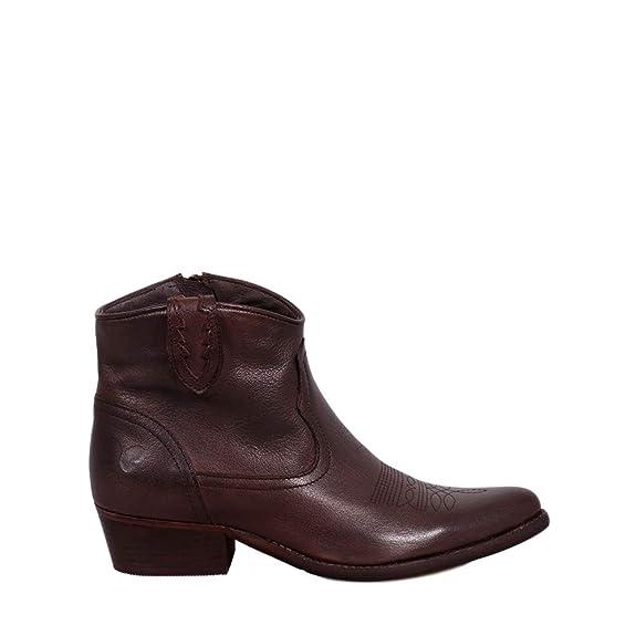 Felmini - Zapatos para Mujer - Enamorarse com West B504 - Botines Cowboy & Biker - Cuero Genuino - Marrón Oscuro: Amazon.es: Zapatos y complementos
