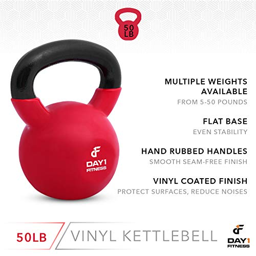 Day 1 Fitness Kettlebell Weights Vinyl Coated Iron 50 Pounds - Coated for Floor and Equipment Protection, Noise Reduction - Free Weights for Ballistic, Core, Weight Training by Day 1 Fitness (Image #3)