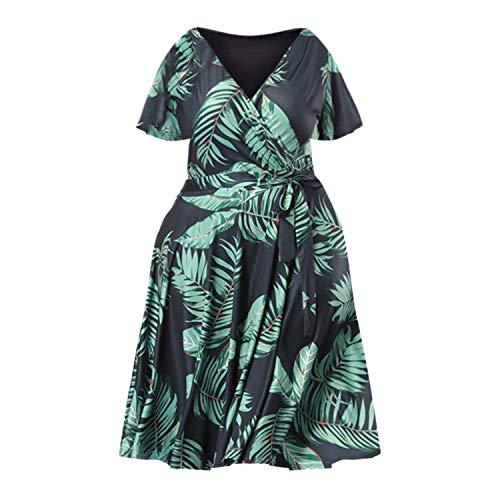 Bohemian Vintage Sundresses Retro Ladies Leaf Printing V-Neck Casual Short Sleeve Belt Cloth,Green,XXXL -