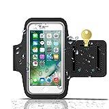 CoWalkers Brazalete deportivo para iPhone 8 Plus, Brazalete resistente al agua con soporte para llavero para iPhone XS XR iPhone 8 Plus, 7 Plus, 6 Plus (5.5 pulgadas), 6S, 7, 6, Galaxy S8 Plus / S9 Plus S7 / S6 / S5, Nota 4 con protector de pantalla (Negro)
