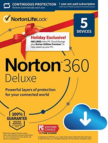 Holiday Exclusive – Norton 360 Deluxe 2021 – Antivirus software for 5 Devices with Auto Renewal – Includes 75GB PC Cloud Backup, VPN & Dark Web Monitoring powered by LifeLock [Download]