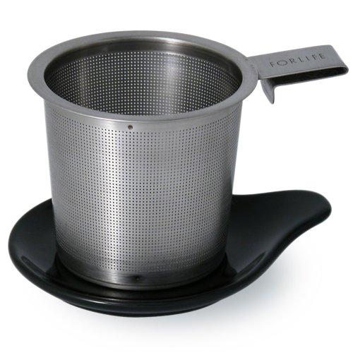 FORLIFE Hook Handle Tea Infuser and Dish Set, Black Graphite