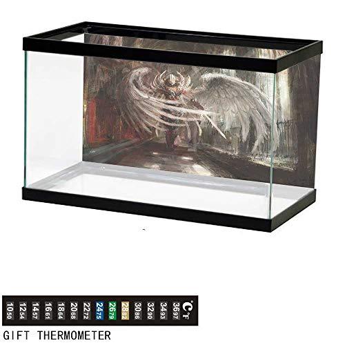 (bybyhome Fish Tank Backdrop Fantasy,Cyborg Angel Girl Warrior,Aquarium Background,36