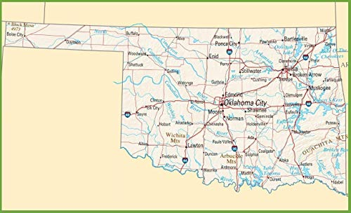 Peel Oklahoma - Home Comforts Peel-n-Stick Poster of Oklahoma State Road Map Banner City Highway Poster 24 x 16 Adhesive Sticker Poster Print
