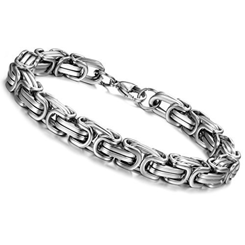 ORAZIO 8MM Stainless Steel Byzantine Bracelet for Men 8-9 Inches Silver Tone