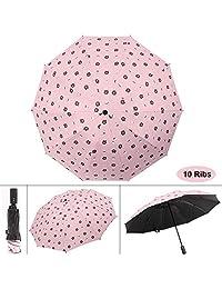 Waliwell Paraguas Invertido, Paraguas Automático de Viaje con Revestimiento de Teflón, Paraguas Grande 10 Costillas, Sombrillas de Protección UV, 120cm