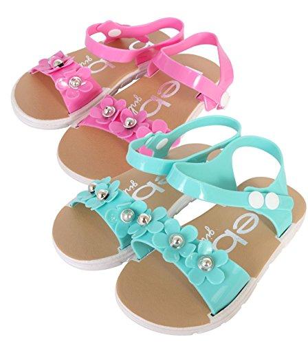 Girls Sandals Aqua (bebe Girls Comfort Flower Sandals - Set of 2 - Ankle Strap Open Toe Flat Shoes, Aqua/Pink, 11-12 M US Little Kid')