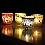 Handcrafted Mosaic Glass Beads Sequin Candlestick Candle Holder Candelabra Home Decor Gift