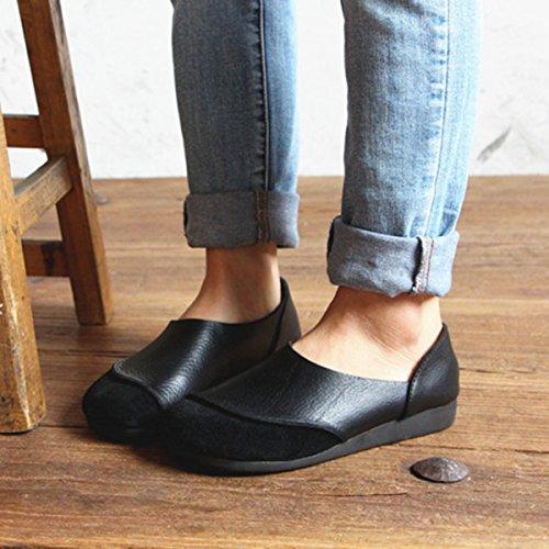 Socofy Platta Loafers, Kvinna Läder Färgmatchning Mjuk Halka På Skor, Rund Tå Vild Körning Skor Svart