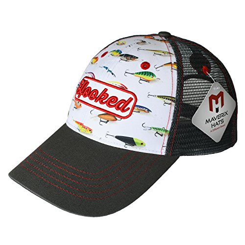 Trucker Fishing Hat - Mesh Cool Caps Mesh Back Hats Snapbacks Best Snap Cap Meshed Baseball Gone Fisherman Low Profile Rise Adjustable Structured - Adult Teen Children Kids Girls Boys Youth Fish (Embroidery Stuff Designs)