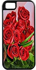 LJF phone case iPhone 4 Case iPhone 4S Case Cases Customized Gifts Cover Red Bouquet Roses Flowers Design - Ideal Gift