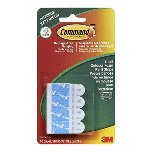 Outdoor Foam - Command Outdoor Foam Hanging Strip Refills, Small, 16-Strips (17022AW-ES)