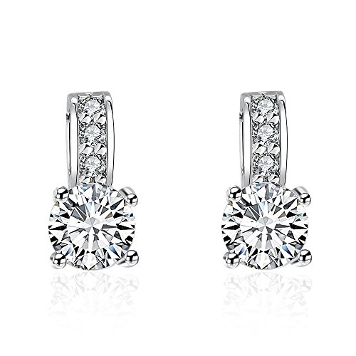 Ronglai Jewelry Lucky Clover Stud Earrings with 5mm Round Cut Cubic Zirconia,Love Knot Stud Earrings for Women Girl Teens (CZ Stud ()