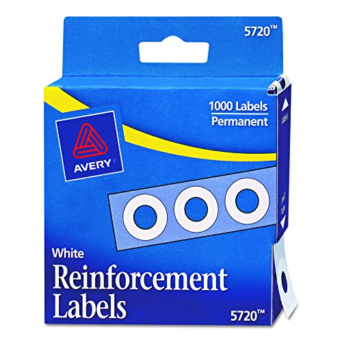 Avery Self-Adhesive Polyvinyl Standard Diameter Hole Reinforcements, White, 1,000 per Pack (05720)