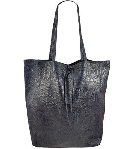 Freyday Damen Echtleder Shopper mit Innentasche in vielen Farben Schultertasche Henkeltasche Metallic look Dunkelblau Prägung