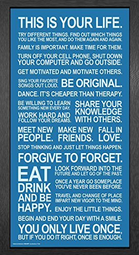 This Is Your Life Inspirational Motivational Photography Quote Poster Print  Framed 12 By 24