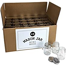 Mason Jar 4 Ounce Mugs - Set of 48 Glasses With Handles And Leak-Proof Lids - Great For Shots, Drinks, Favors, Candles And Crafts