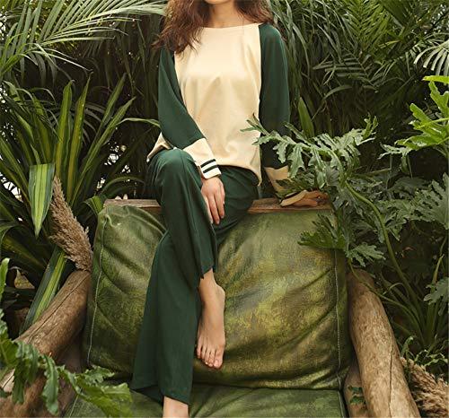 Otoño Green Mmllse Mujer Algodón Piezas Pijamas Hogar Larga Invierno De E Dos Dulce Suelta Manga 6pqpUI