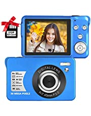 $45 » Digital Camera 2.7 Inch LCD Rechargeable HD Digital Camera Compact Camera Pocket Digital Cameras 30 Mega Pixels with 8X Zoom for Adult Seniors Students Kids with 32GB SD Card(1 Battery Included), Blue