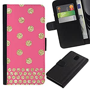 SAMSUNG Galaxy Note 3 III / N9000 / N9005 Modelo colorido cuero carpeta tirón caso cubierta piel Holster Funda protección - Polka Dot Pink Gold Pattern Glitter