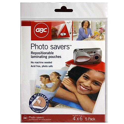 (GBC Photo Savers Repositionable Laminating Pouches, 4 x 6 Inches, Clear Gloss, 5 Pouches per Pack)
