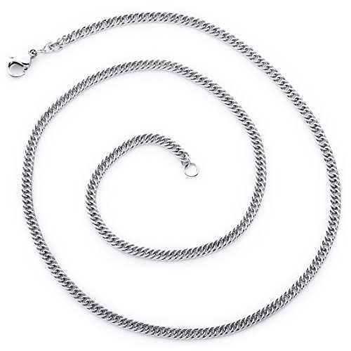 Double Curb Chain (20 inch 2.5mm Diamond Cut 316L Surgical Stainless Steel Flat Double Curb Chain Necklace 16, 18, 20 and 22 inch)