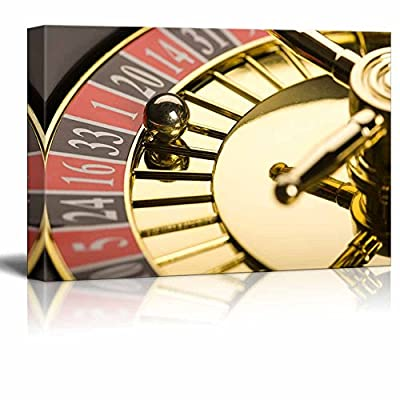 Canvas Prints Wall Art - Casino Concept Close-Up of Roulette | Modern Wall Decor/Home Decoration Stretched Gallery Canvas Wrap Giclee Print & Ready to Hang - 24