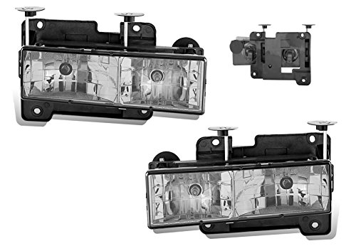 SPPC Clear Crystal Headlights Assembly Set For Chevrolet Fullsize - (Pair) Driver Left and Passenger Right Side Replacement Headlamp