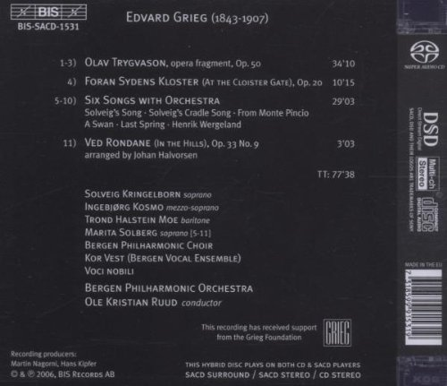 Grieg: Olav Trygvason / Orchestral Songs