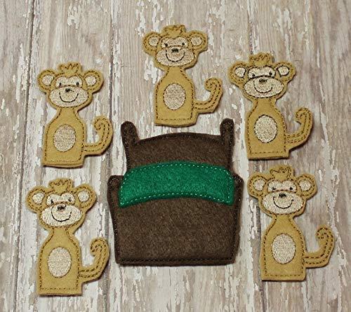 Toddler Pretend Play 5 Little Monkeys Felt Finger Puppet Set For Kids