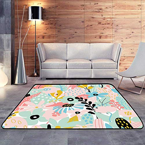 (Bathroom Rugs,Floral Elements in Pastel Colors on White. W 78.7