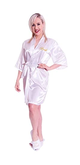 Amazon.com: alandra Bride Kimono Silk Satin Wedding Gown Robe ...