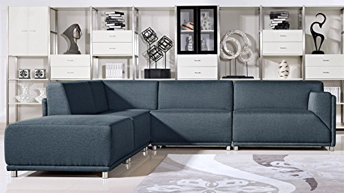 Nyle Charcoal Fabric Sofa Bed with Chrome Legs - Left Chaise (Mid Century Sectional Sofa)
