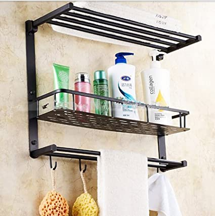 Gowe Oil Rubbed Bronze Bathroom Shelf Foldable Towel Rack Holder