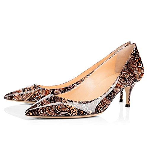 Marron Kitten Pointu Classique 6 Escarpins 5 ELASHE Shoes Fleur Bout Femme Bureau Soiree cm Fermé Heel Chaussures 5 STcRFw