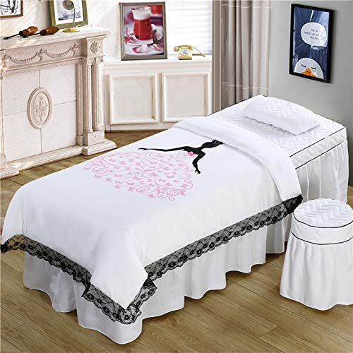GX&XD Skin-Friendly Cotton Beauty Bed Cover 4 Piece Massage Table Sheet Sets Quilted Bed Sheet Sets Soft Breathable Spa Bedspreads with face Rest Hole(Includ Quilt core)-P 185x70cm(73x28inch)