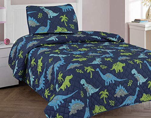 Golden linens Twin Size 2 Pieces Printed New Designs Kids Bedspread/ Coverlet Sets/ Quilt Set (Twin, DINOSAUR) ()