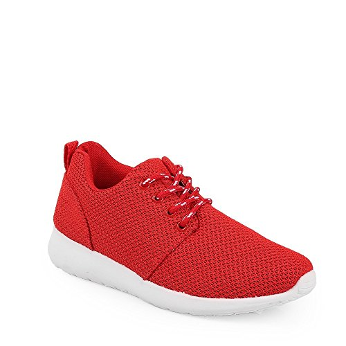 Ideal Shoes Sneaker Mesh Style Running Joella Rot