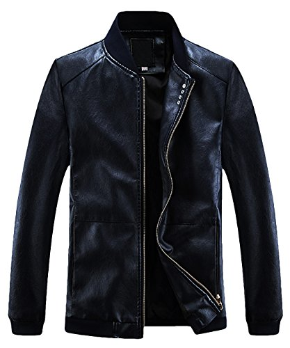 Zip Front Leather Coat - 8