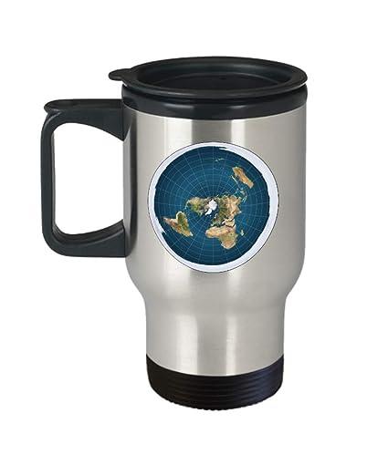 Amazon.com: Flat Earth map symbol travel mug   zetetic astronomy