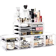 DreamGenius Makeup Organizer 4 Pieces Acrylic Jewelry and Cosmetic Storage Display Boxes with 9 Drawers