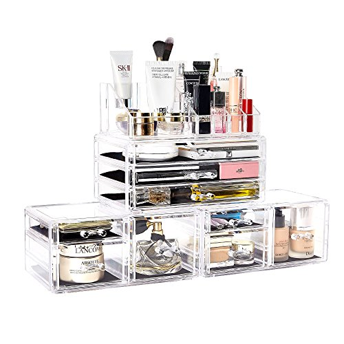 (DreamGenius Makeup Organizer 4 Pieces Acrylic Jewelry and Cosmetic Storage Display Boxes with 9 Drawers)