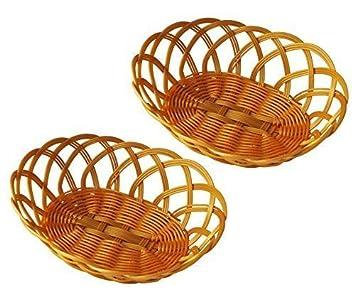 Deko-Körbchen oval aus Kunststoff Oster-Körbchen bastähnlich Brötchenkörbchen