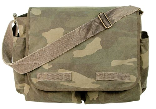 Woodland Camouflage Vintage Heavyweight Classic Messenger Bag