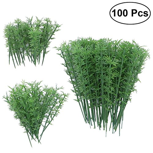 NUOLUX 100pcs Model Trees 1:75 4 Scales Plastic Bamboo Trees Model Train Scenery Landscape